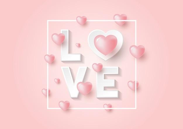 Roze achtergrond voor valentijnsdag Premium Vector