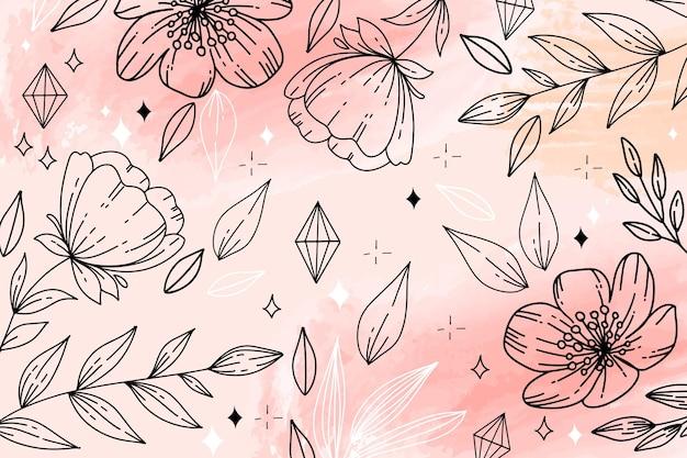 Roze aquarel achtergrond en met de hand getekende bloemen Gratis Vector
