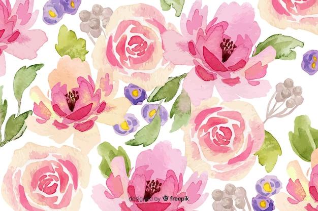 Roze aquarel bloemenachtergrond Gratis Vector