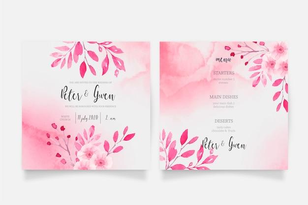 Roze aquarel bruiloft uitnodiging en menusjabloon Gratis Vector