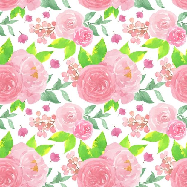 Roze aquarel naadloze bloemmotief met mooie rozen Premium Vector
