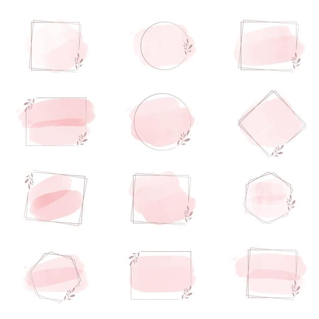 Roze aquarel penseelstreek splash met geometrische frame Premium Vector