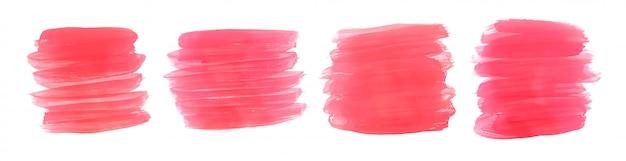 Roze aquarel verf penseelstreek set van vier Gratis Vector