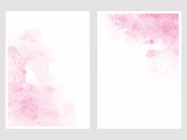 Roze aquarel wassen splash 5 x 7 uitnodigingskaart achtergrond sjabloon collectie Premium Vector