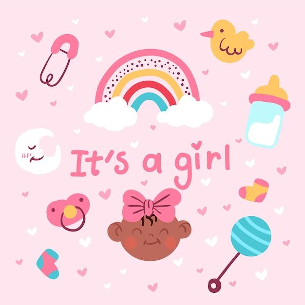 Roze baby shower meisje Gratis Vector
