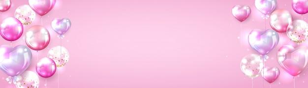 Roze ballonachtergrond voor het ontwerp van de valentijnskaartbanner Gratis Vector