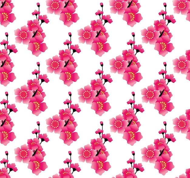 Roze bloem naadloos patroon, sakura-vector als achtergrond Premium Vector