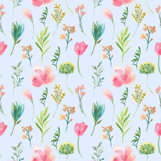Roze bloem naadloze pattren aquarel Premium Vector