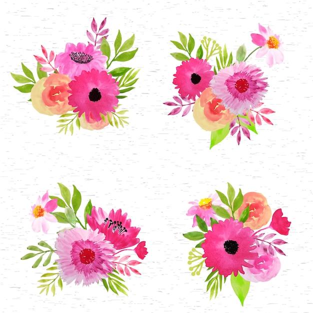 Roze bloemen arrangement aquarel collectie Premium Vector