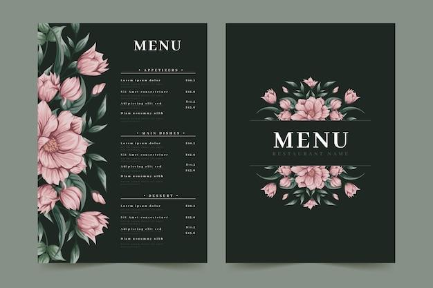 Roze bloemen restaurant menusjabloon Premium Vector