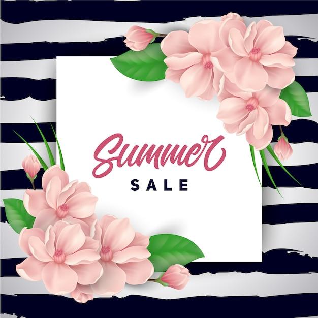 Roze bloemen zomer verkoop achtergrond Gratis Vector