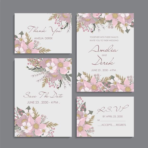 Roze bloemenachtergrond - de reeks van de huwelijksuitnodiging Gratis Vector