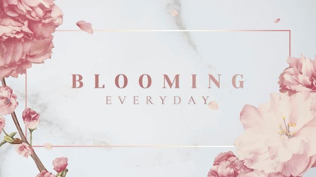 Roze bloemenbanner Gratis Vector