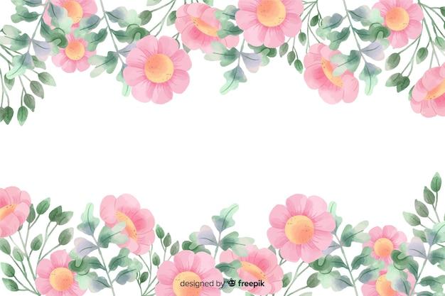 Roze bloemenframe achtergrond met waterverfontwerp Gratis Vector