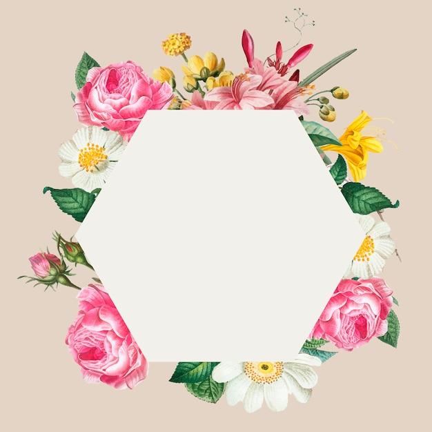Roze bloemenframe Gratis Vector