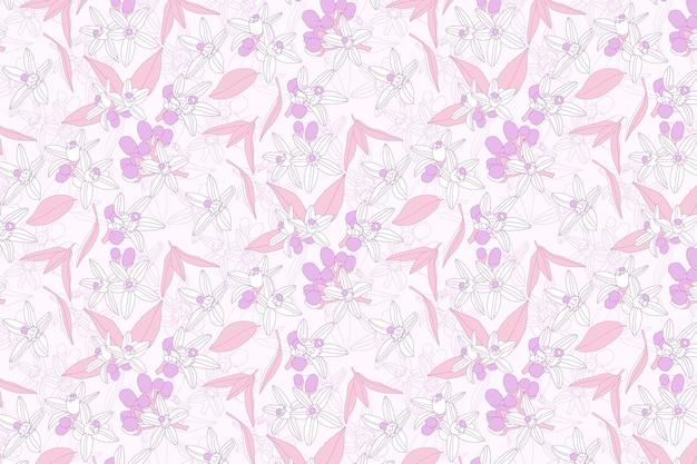 Roze bloemenpatroonbehang Gratis Vector