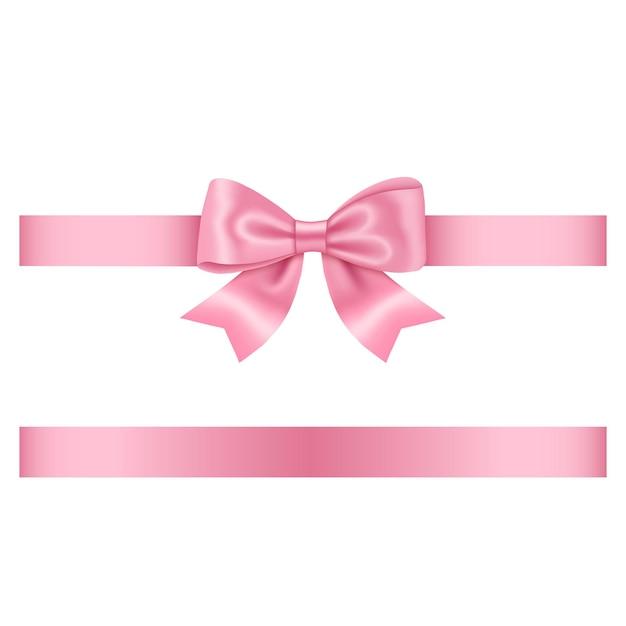 Roze boog en lint Premium Vector