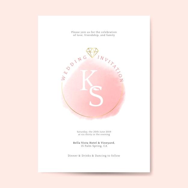 Roze bruiloft uitnodiging kaart vector Gratis Vector