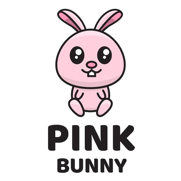 Roze bunny schattig logo sjabloon Premium Vector