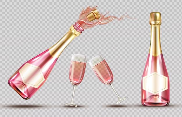 Roze champagne explosie fles en wijnglas set Gratis Vector