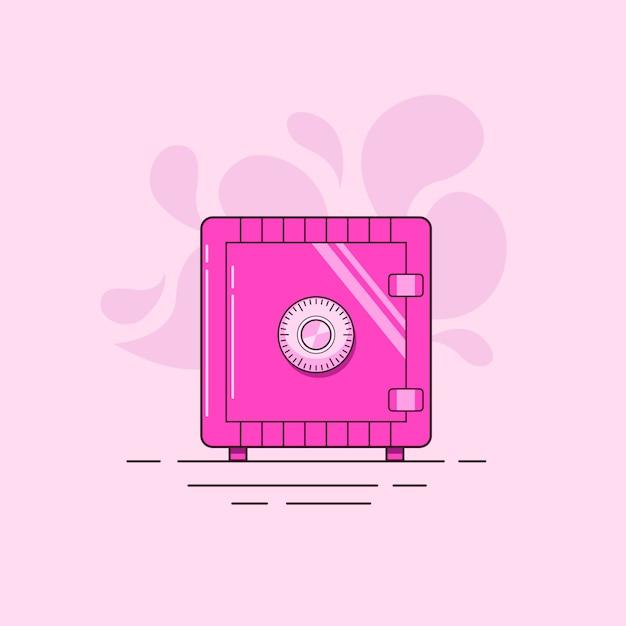 Roze combinatie locker veilig geïsoleerd op een licht roze achtergrond Premium Vector