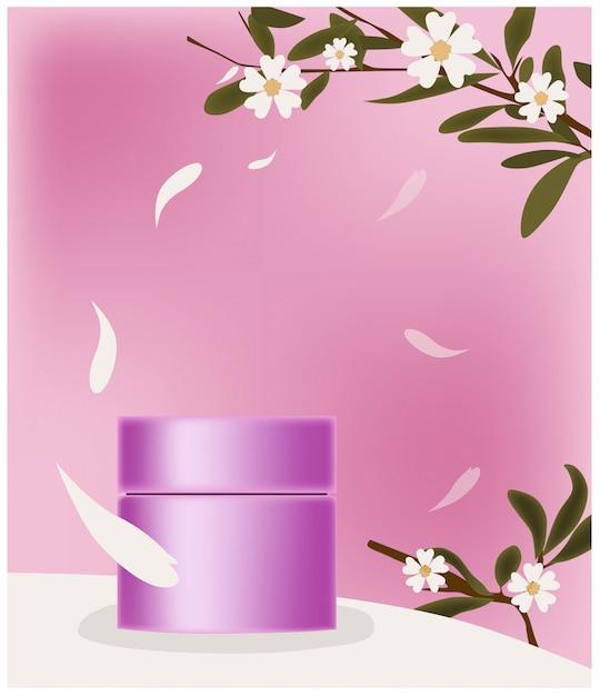 Roze cosmetische pot omgeven door bloemblaadjes. plaats voor merk. takjes met bloemendecoratie Gratis Vector