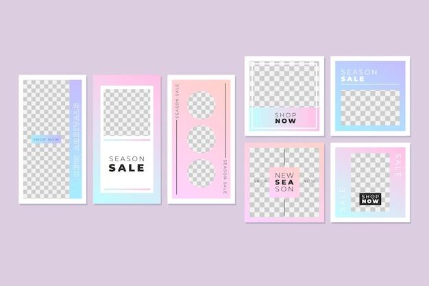Roze en blauwe instagram postverzameling Gratis Vector