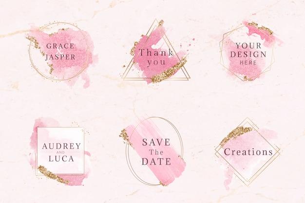 Roze en gouden badge set Gratis Vector