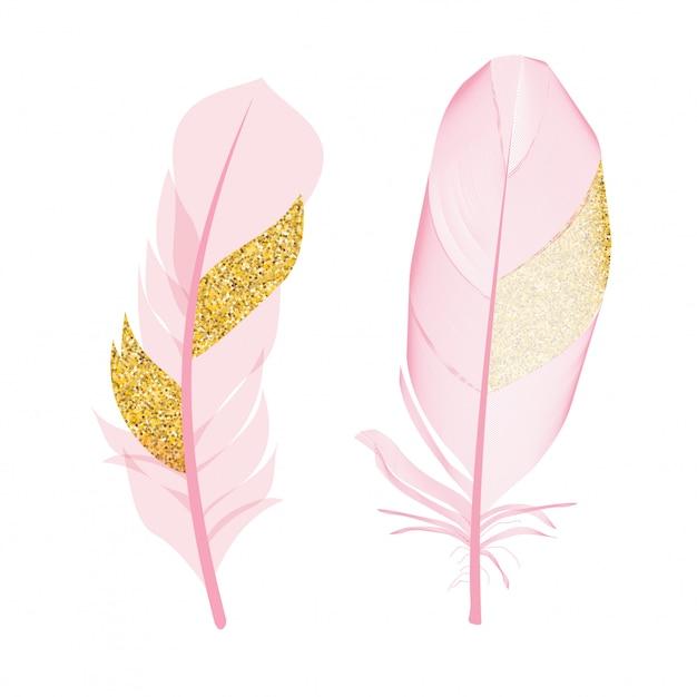 Roze en gouden glitter geschilderd vogels geïsoleerd. vector illustratie Premium Vector