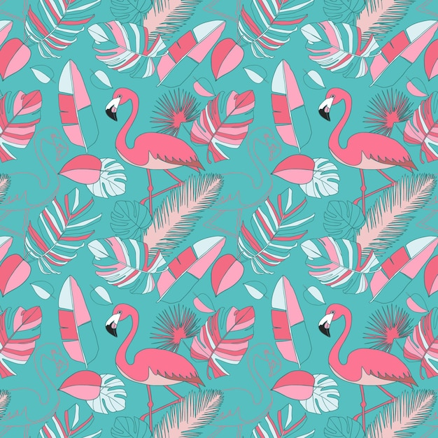 Roze flamingo patroon behang Gratis Vector