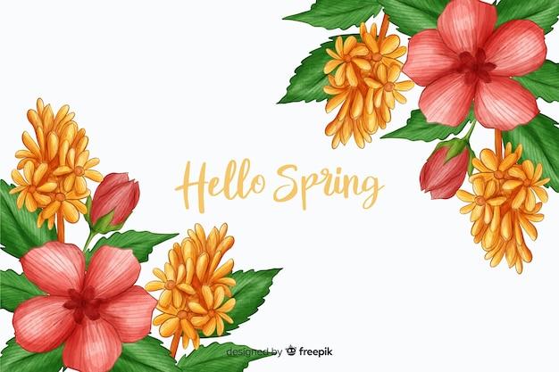Roze flora met hallo lente citaat Gratis Vector