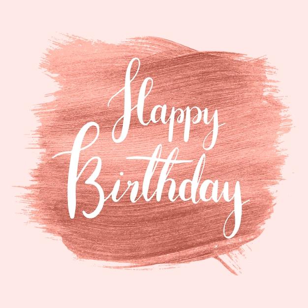 Roze gelukkige verjaardag dag badge Gratis Vector