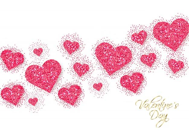 Roze glitter harten valentine dag banner Premium Vector