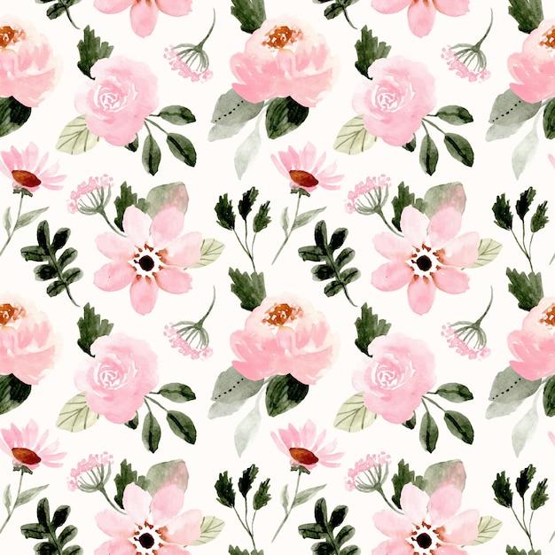 Roze groen bloemenwaterverf naadloos patroon Premium Vector