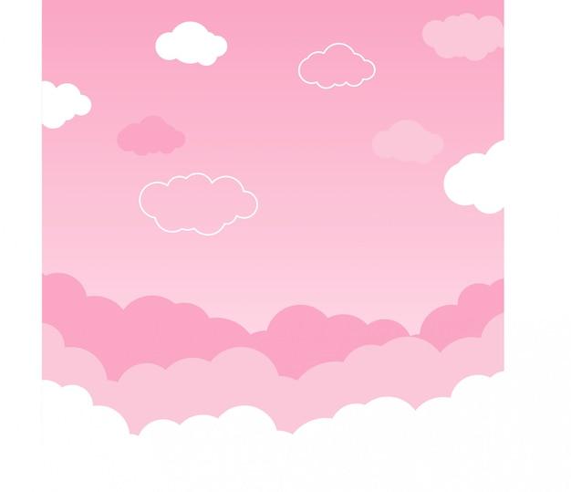 Roze hemel met wolken achtergrondvector Premium Vector