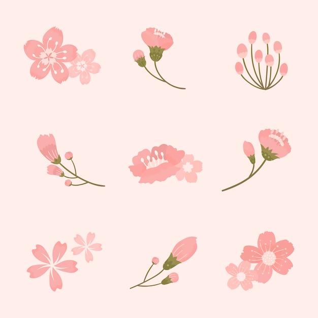 Roze kersenbloesem elementen collectie vector Gratis Vector