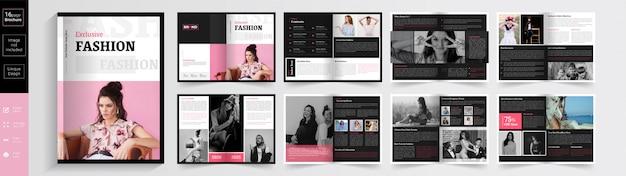 Roze kleur exclusieve mode brochure sjabloon. Premium Vector