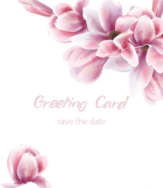 Roze lelie boeket aquarel. blauwe bladeren delicate decoratie. rustieke bohoposter van de provence Premium Vector