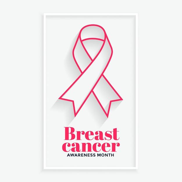 Roze lijn lint borstkanker bewustzijn maand poster Gratis Vector