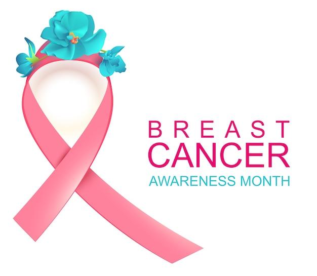 Roze lint symbool nationale borstkanker bewustzijn maand. geïsoleerd op witte illustratie Premium Vector