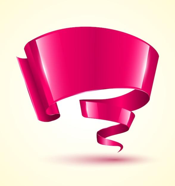 Roze lintbanner twist Premium Vector