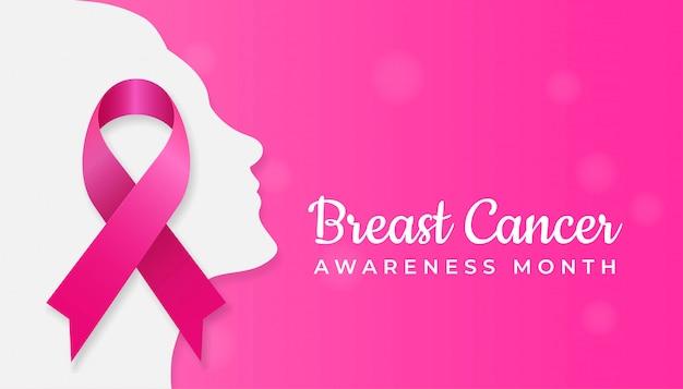 Roze lintsymbool op het silhouet van het vrouwengezicht Premium Vector