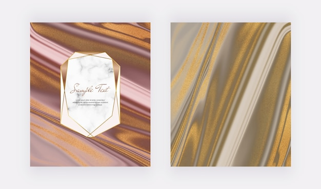 Roze met geometrisch frame en bruin gouden glitter vloeibare marmeren kaarten Premium Vector