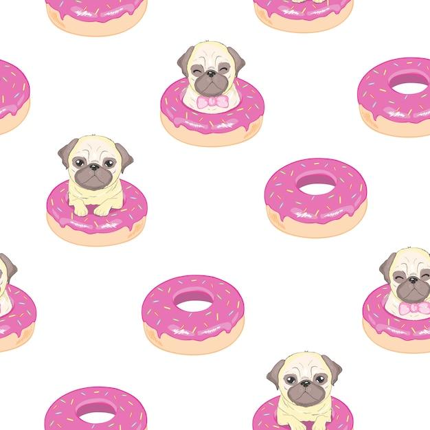 Roze naadloos patroon met grappige franse buldog en doughnut. Premium Vector