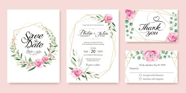 Roze nam de kaart van de huwelijksuitnodiging toe. Premium Vector