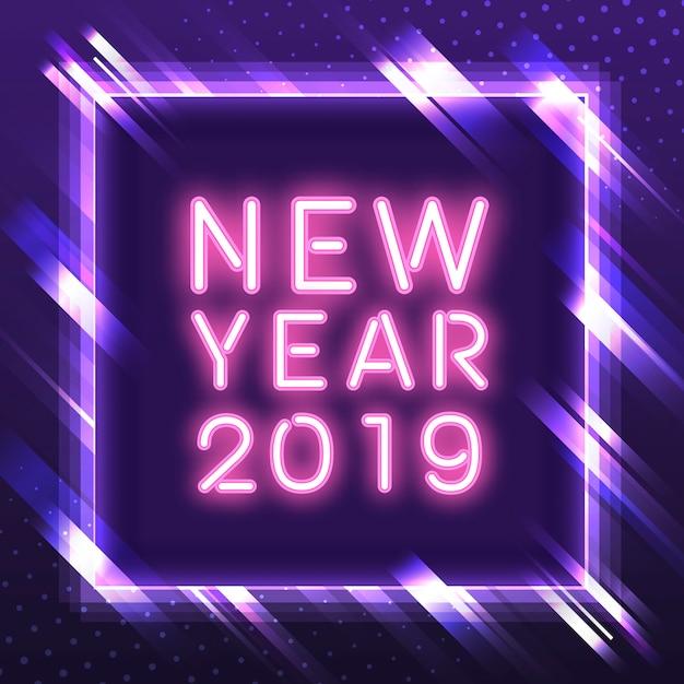 Roze nieuw jaar 2019 in een paarse vierkante vector van het neonteken Gratis Vector
