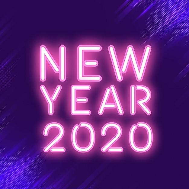 Roze nieuwjaar 2020 neon teken vector Gratis Vector