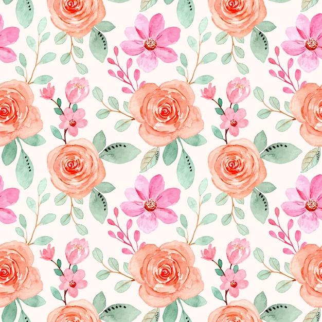 Roze oranje bloemen aquarel naadloze patroon Premium Vector