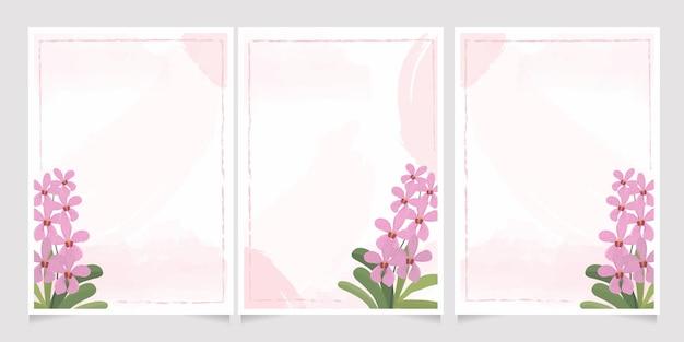 Roze orchidee mokara op het huwelijksuitnodiging van de waterverfplons Premium Vector