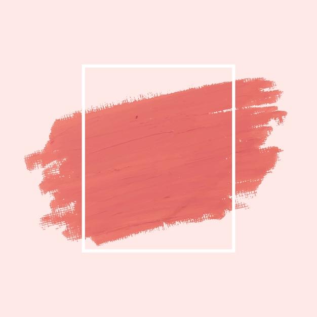 Roze penseelstreek badge vectoren Gratis Vector